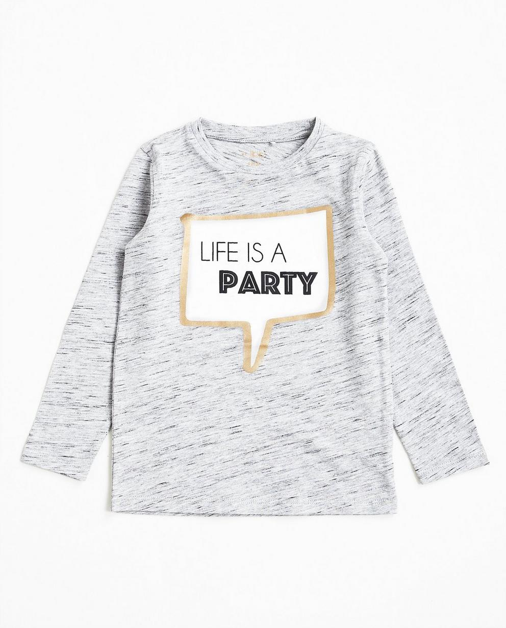 T-shirt à manches longues - gris, avec bulle de texte - JBC